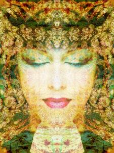 Bildnis einer Frau überlagert mit Texturen und Ornamenten,