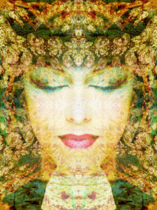 Portrait of a woman overlaid with textures and ornaments,
