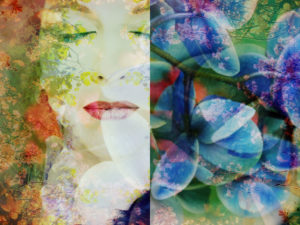 Composing, portrait of a woman overlaid with flowers,