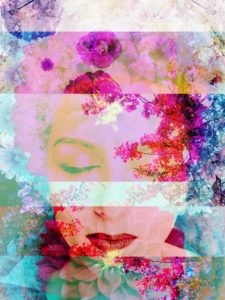 Portrait of a woman overlaid with blossoms