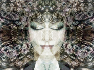 Portrait of a woman overlaid with textures and ornaments