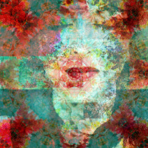 Photomontage, woman's face, closed eyes, bloom, detail