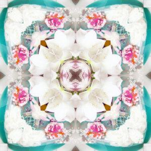 Blütenmandala, Composing, weiß, türkis,