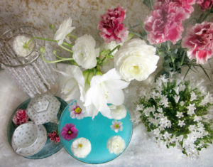 still life, flowers, amaryllis, tea service, from above