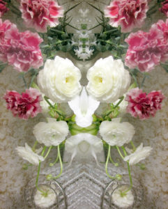 Flowers, reflection, composing, green, pink, white,
