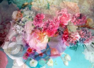 composing, still life, flowers, tea service, from above,