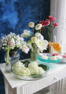 still life, sideboard, flowers, vases, different,