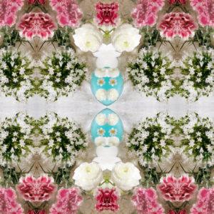 Blossom mandala, composing, green, pink, white,