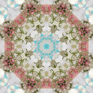 Flower Mandala, composing, white, pink, turquoise,