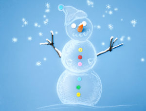 Snowman, buttons, sketch, night, snow,