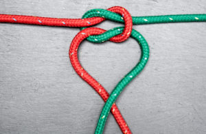 Ropes, rope, knot, forming a heart,red, green,
