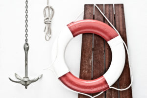 Anchor, rope, lifebuoy, wooden board,