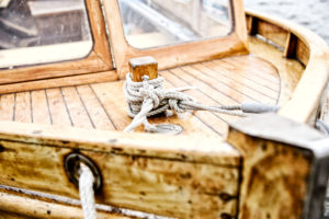 Wooden boat, motorboat, berth, detail,