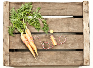 Wooden box, carrots, bio-product,