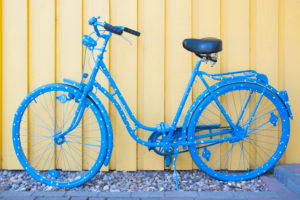 Bicycle, blue, dots, wooden wall,