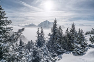 mountain landscape on the Tegelberg (mountain) in South Germany in winter,