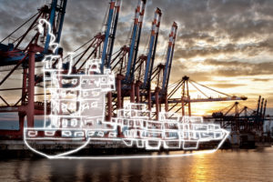 light drawing of a container ship in the harbour,