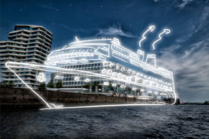 light drawing of a cruise ship in the town harbour at night,