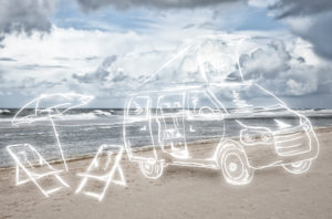 light drawing, camper on the sea