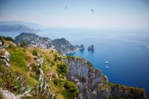 View on the sea from above, steep coast, rocks, view, mountains, nature, steep, Capri, blue, Italy