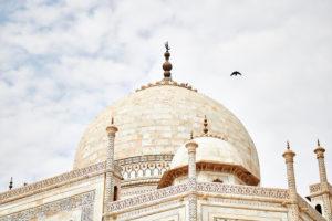 Dome, sky, clouds, bird, the Taj Mahal, mausoleum, India, Agra, Uttar Pradesh
