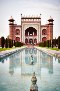 Nebengebäude, Eingang, Spiegelung, Taj Mahal, Mausoleum, Indien, Agra, Uttar Pradesh