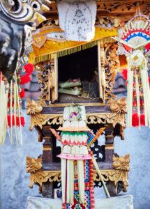 Opfergaben, Haustempel der Familie, Close-up, Reportage, traditionelle Hochzeit, Bali, Indonesien, Asien