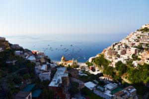 Sorrento, Tal, Hügel, Meer, Boote, Blick von oben, Italien Reise