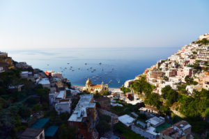 Sorrento, valley, hill, sea, boats, view from above, Italy, travel