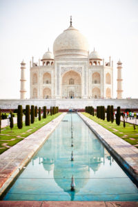 The Taj Mahal, reflection in the water, mausoleum, India, Agra, Uttar Pradesh