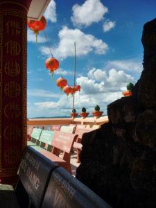 Temple, view, lampions hung up on line, cloudy, blue sky, harbour, Phú Quoc, Vietnam