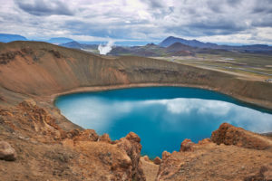 Iceland, Myvatn, Krafla volcano area, ringroad, hiking at askja lake