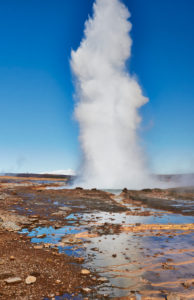 southwest Iceland, Golden Circle, Geysir Strokkur, Laugarvatn in Haukadalur Valley