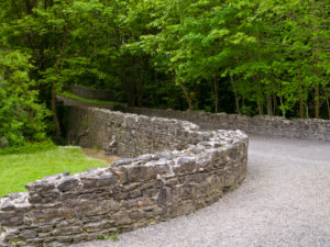 Ireland, County Wexford, access road to Tintern Abbey on Hook peninsula, Cistercian monastery from the 12th century
