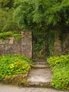 Ireland, Donegal, Glenveagh national park, forged iron gate in the garden of Glenveagh Castle