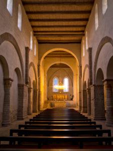Europe, Germany, Saxony-Anhalt, Ilsenburg, Drübeck Abbey, Benedictine Convent of St. Vitus, 10th century, interior nave to the altar