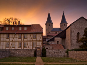 Europe, Germany, Saxony-Anhalt, Ilsenburg, Drübeck Abbey, Benedictine Convent of St. Vitus, 10th century, evening mood
