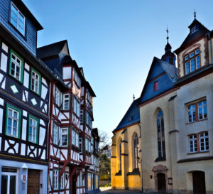 Europe, Germany, Hesse, Lahn-Dill-Kreis, Lahn-Dill-Bergland, Wetzlar, Schillerplatz, Jerusalemhaus, Untere Stadtkirche (former Franciscan monastery), music school