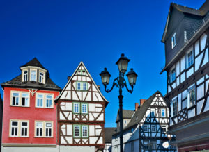 Europe, Germany, Hesse, Lahn-Dill-Kreis, Lahn-Dill-Bergland, Wetzlar, Schillerplatz, half-timbered houses