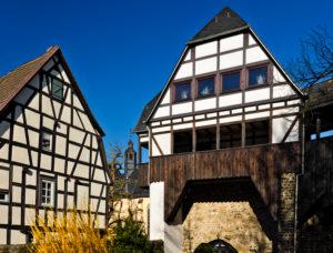 Europe, Germany, Hesse, Lahn-Dill-Kreis, Lahn-Dill-Bergland, Wetzlar, half-timbered houses on Ludwig-Erk-Platz