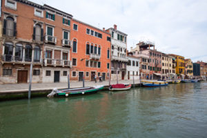 View from a canal on the houses in Venice