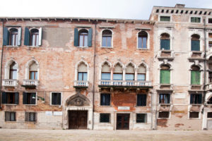 Facades of houses at Campo San Maurizio in Venice