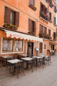 Restaurant in pink house in Venice in Italy