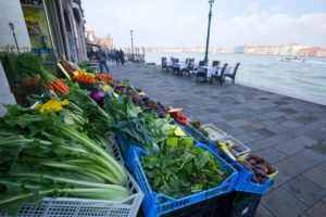 Goods display of vegetable trade in Venice