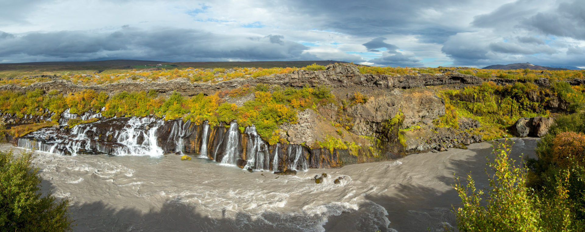 Iceland, Barnafoss, West Iceland, autumn colors, cloudy mood, dirty meltwater,