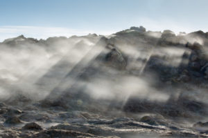 Steam billows in the Hverfell high temperature zone near Lake Myvatn in northern Iceland