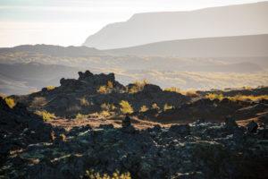 Island, Myvatn, Lavafeld Dimmuborgir, Pseudokrater, Herbstlaub, Gegenlicht, Abendlicht