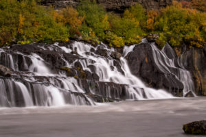 Iceland, Barnafoss, West Iceland, autumn colors, long exposure, rising from a crevice