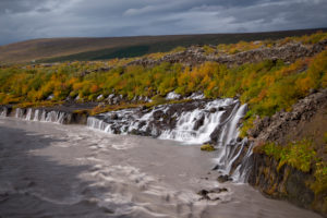 Iceland, Barnafoss, West Iceland, autumn colors, cloudy mood, cloudy meltwater,