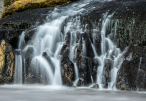 Iceland, the veiled Barnafoss waterfall, detail, autumn